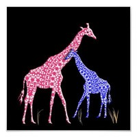 Cute Mother and Baby Son Giraffe Whimsical Poster from Zazzle.com