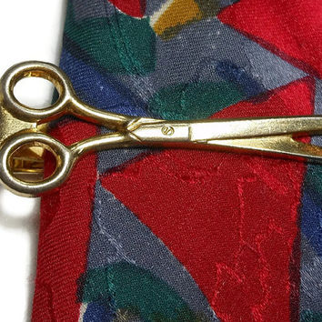 Scissors tie clasp clip - gold tone barber, tailor, seamstress, hairdresser tie bar, money clip