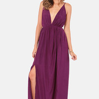 Titania's Woods Backless Purple Maxi Dress