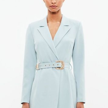 Missguided - Peace + Love Blue Belted Blazer Dress