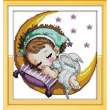 The Moon baby (girl), counted printed on fabric DMC 14CT 11CT Cross Stitch kits,embroidery needlework Sets, Home Decor