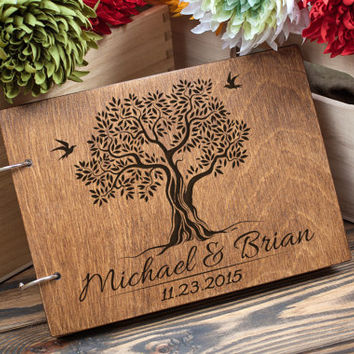 Wedding Guestbook, Guest Book, Wedding Tree, Wedding Date and names, Wood Guestbook, Family Tree
