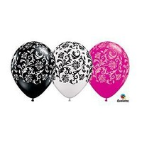 "(12) 11"" Damask Patterned Black, White & Pink Latex Balloons Party Decor by Qualatex"