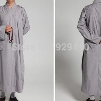 Unisex Summer&Spring cotton Buddhist monks clothing zen Buddhism lay uniforms abbot meditation gown martial arts robe suits gray