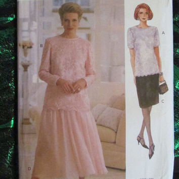 SALE Uncut 1993 Vogue Sewing Pattern, 8635! Size 20-22-24, XL/Plus Sizes, Women's/Misses, Skirts/Blouses/Shirts/Tops, Formal/Casual/Summer/S