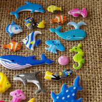 Clown fish seahorse sticker Tropical fish puffer fish whale dolphin seals sticker Glitter marine ocean puffy sticker Aquarium sea world