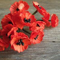 10 Red Paper Poppies - Miniature - Made of mulberry paper with wire stems - Great for doll houses, card making & scrapbooking