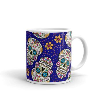 Sugar Skulll Day of The Dead DARK BLUE Mug