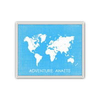 Sky Blue World Map Print, Adventure Awaits, World Map Poster, Travel Print, Boys Nursery Decor, Graduation Gift, Inspirational Wall Art, 035