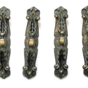 12 Large Ornate Antique Brass Drawer Cabinet Handles, With Escutcheon Plate, Fleur De Lis design.