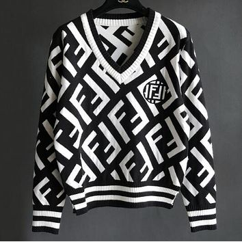 FENDI Popular Women Double F Letter Jacquard Long Sleeve V Collar Knit Thick Sweater Top Sweatshirt Black/White