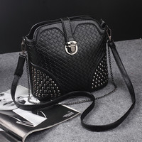 Ladies Black Studded Leather Crossbody Shoulder Handbag