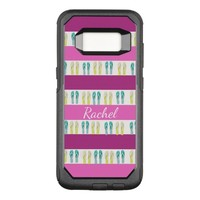 Pink purple white stripes and beachy flip flops OtterBox commuter samsung galaxy s8 case