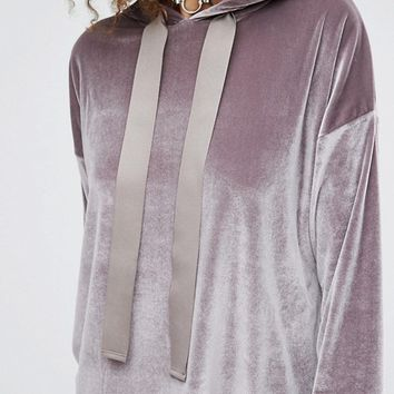 ASOS Hoodie with Oversized Trims in Velvet at asos.com