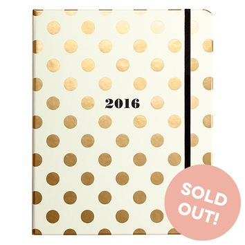 2016 kate spade new york Large Agenda - Gold Dots