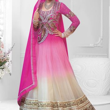 Pink and Cream Anarkali Semi Stitched Salwar Suit