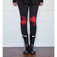 Patchwork Buffalo Plaid Leggings