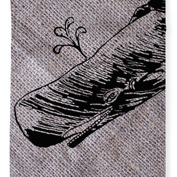 Whale On Burlap - Blanket