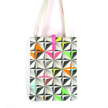 Leather Tote / Shopper / Laptop Bag - Neon City