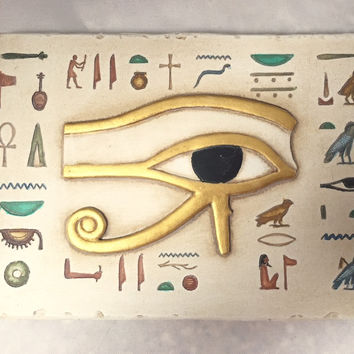 Eye of Horus Egyptian Symbol of Good Luck Wall Small Relief 6.5W, Assorted Colors