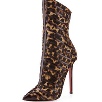 Gouzimine Leopard-Print Red Sole Pointy Boot