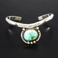 Navajo Sterling Silver Cuff Bracelet, Oval Turquoise Stone, Silver Beading & Twisted Rope, Native American Indian, Tested 925, Southwestern