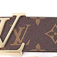 Brown-Gold fashion leather metal buckle belt