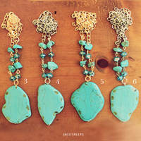 Sliced Turquoise Stone Necklace, Bohemian Necklace, Hipster Stone Necklace