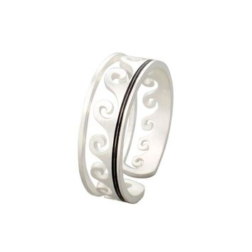 Silver Color Rings For Women Fashion Wave Jewelry Stainless Steel Hollow Adjustable Party Ring Best Friend Gifts Anillos Mujer