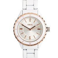 Oasis Round White & Rose Gold Bracelet Watch