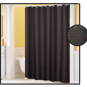 "Royal Bath Waffle Weave Textured Fabric Shower Curtain with Metal Grommets (70"" x 72"") - Black"