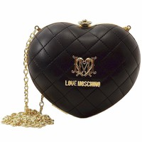 Love Moschino Women's Black Quilted Heart Kiss Lock Crossbody Handbag