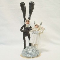 Vintage Inspired Spun Cotton Bunny and Kitty by VintagebyCrystal