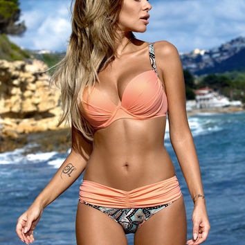 2016 New Sexy Bikinis Women Swimsuit High Waisted Bathing Suits Swim Halter Top Push Up Bikini Set Beach Plus Size Swimwear XL