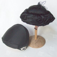 2 Cocktail Hats Black Satin Formal Rhinestones Mid Century