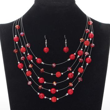 Artificial Coral Jewelry Sets Red Earrings Set Beads Natural Stone Necklace Collares Layers Choker Fashion Jewelry Set