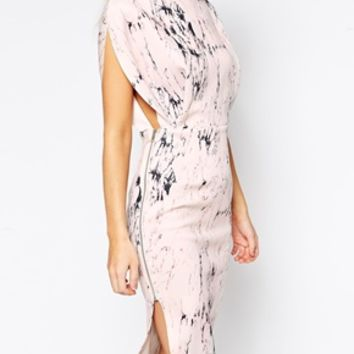 ASOS Open Top Marble Print Midi Dress