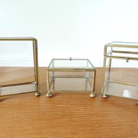 Three large brass and glass boxes for display, terrariums or contained fairy gardens