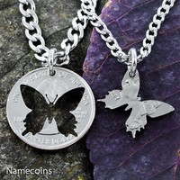 Butterfly Best Friends coin necklaces