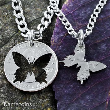 Butterfly Best Friends coin necklaces by NameCoins