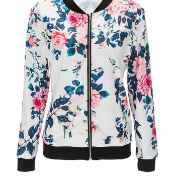 Streetstyle  Casual Band Collar Bomber Jacket In Floral Printed
