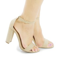 Arianna1 Nude By Aquapillar, Classic Open Toe Ankle Cuff Chunky Heel Sandals