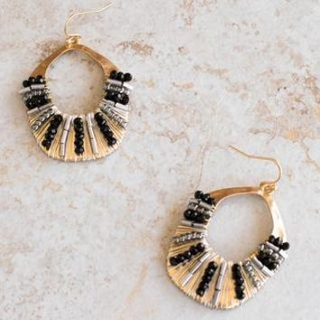 GiGi Embellished Earrings - Black and Silver