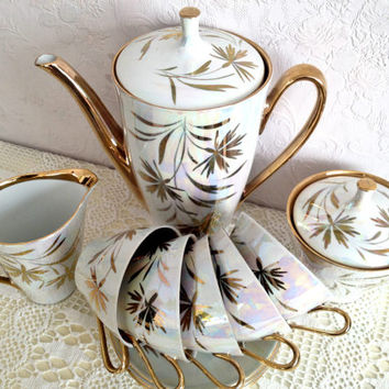 Stunning Gold and Opalescent Cmielow Vintage Teaset. Wedding Anniversary Gift. VBB132