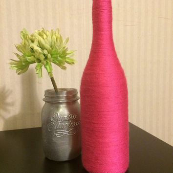 Wine Bottles wrapped with yarn - home décor BRIGHT PINK
