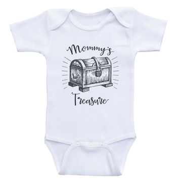 "Cute Nautical Baby Clothes ""Mommy's Treasure"" One-Piece Baby Onesuits"