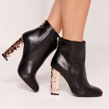 Missguided - Black Contrast Zip Crushed Heeled Boots