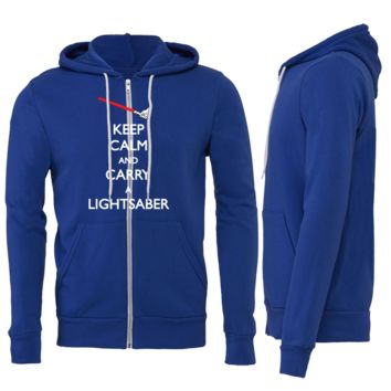 KEEP CALM AND CARRY A LIGHTSABER ZIPPER HOODIE