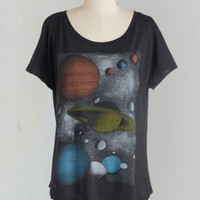 Sci-fi Mid-length Short Sleeves Galaxy Fest Top by ModCloth