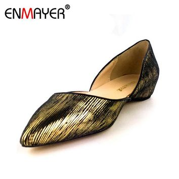 ENMAYER Summer Shoes Women Flock Loafers Slip-on Black Gold Leopard Pointed Toe Shoes